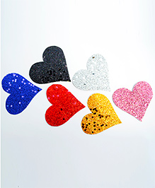 Pretty Ponytails Set Of 6 Glitter Heart Hair Clips - Multicolour