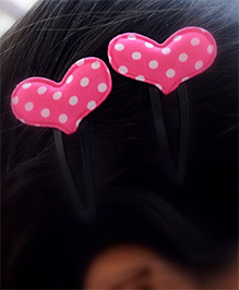 Pretty Ponytails Polka Dot Heart Hair Clip - Pink & White