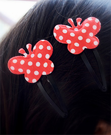 Pretty Ponytails Polka Dot Butterfly Hair Clip - Red & White