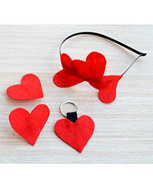 Pretty Ponytails Valentine Love Heart Set Of 4 Accessories - Red
