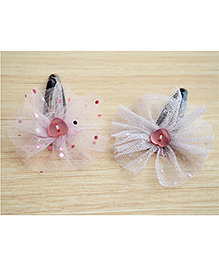 Pretty Ponytails Set Of 2 Dotted Tulle Heart Clips - White & Pink