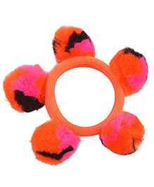Miss Diva Super Cute Pom Pom Rubber Band - Orange