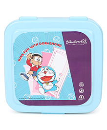 Doraemon Press Close Lunch Box With Spoon Fork & Small Container - Blue Purple