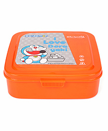Doraemon Press Close Lunch Box With Spoon Fork & Small Container - Orange