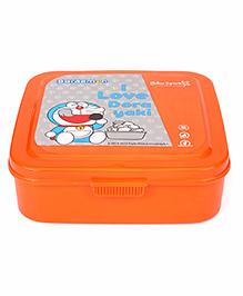 Doraemon Press Close Lunch Box With Spoon Fork & Small Container - Orange