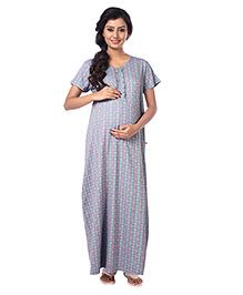 Kriti Short Sleeves Maternity Nursing Nighty Abstract Print - Green