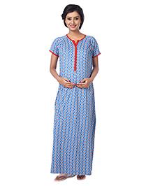 Kriti Short Sleeves Maternity Nursing Printed Nighty - Blue