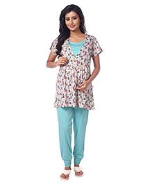 Kriti Nursing Wear Top & Bottom Night Set - Blue & White