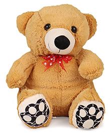Liviya Sitting Teddy Bear Soft Toy With Designed Paw Brown Red - 33 Cm