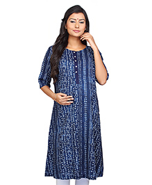 Kriti Three Fourth Sleeves Maternity Nursing Kurti Bandhani Print - Navy Blue