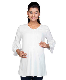 Kriti Three Fourth Sleeves Maternity Nursing Tunic - White