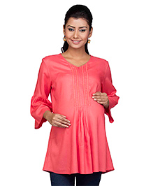 Kriti Three Fourth Sleeves Maternity Nursing Tunic - Pink