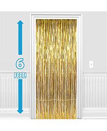 Party Propz Decorative Foil Fringe Party Curtain 1 Piece - Metallic Gold