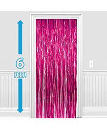 Party Propz Decorative Foil Fringe Party Curtain 1 Piece - Metallic Pink