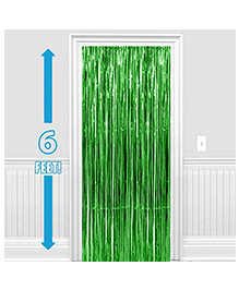 Party Propz Decorative Foil Fringe Party Curtain 1 Piece - Metallic Green