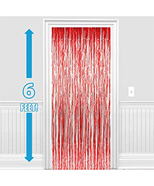 Party Propz Decorative Foil Fringe Party Curtain 1 Piece - Metallic Red
