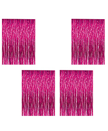 Party Propz Decorative Foil Fringe Party Curtain Metallic Pink - Pack Of 4