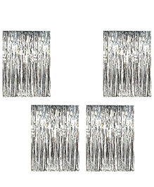 Party Propz Decorative Foil Fringe Party Curtain Metallic Silver - Pack Of 4