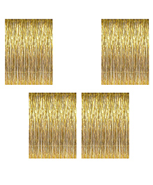 Party Propz Decorative Foil Fringe Party Curtain Metallic Golden - Pack Of 4