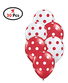 Party Propz Balloons Polka Dots Print Red White - 50 Pieces