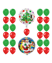 Party Propz 2 Pieces Christmas Foil Balloon And 25 Pieces Red & Green Balloon