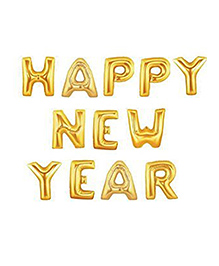 Party Propz Happy New Year Letter Foil Balloon Golden - Pack Of 12