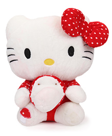 Dimpy Stuff Hello Kitty Soft Toy White & Red - Height 40 Cm