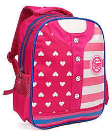 School Bag Stripe And Heart Print Pink - 12.7 Inches