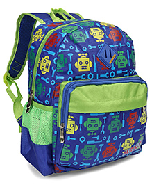 School Bag Pack With Adjustable Shoulder Strap Robot Print Green - 12.99 Inch