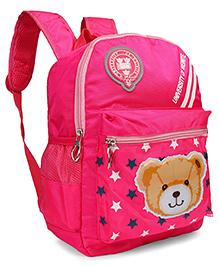 School Back Pack Teddy & Star Print Fuschia - 12.79 Inches