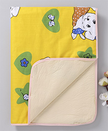 Baby Mat With Puppy Print - Yellow