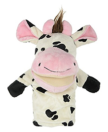 Twisha Hand Puppet Cow Shape Soft Toy White Black - Height 24 Cm