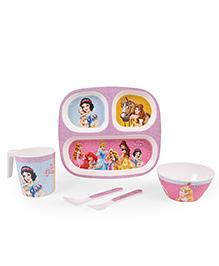Servewell Feeding Set Disney Princess Print Pack Of 5 - White Pink