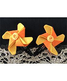 Kalacaree Pin Wheel Hair Clips - Orange & Yellow