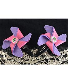 Kalacaree Pin Wheel Hair Clips - Purple & Pink