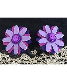 Kalacaree Flower Theme Hair Clips - Purple