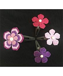 Kalacaree Meadow Theme Hair Clips Set Of 4 - Purple & Pink