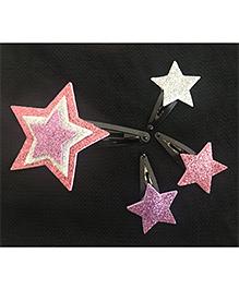 Kalacaree Star Design Theme Hair Clips Set Of 4 - Pink