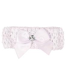 Miss Diva Glittering Diamond On Bow Headband - White