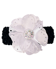 Miss Diva Pearl On Big Flower Headband - White