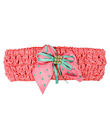 Miss Diva Bow With Ribbon Soft Headband - Coral