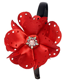 Miss Diva Pearl On Big Flower Soft Hairband - Red