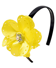 Miss Diva Pearl On Big Flower Soft Hairband - Yellow