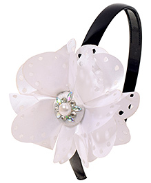 Miss Diva Pearl On Big Flower Soft Hairband - White