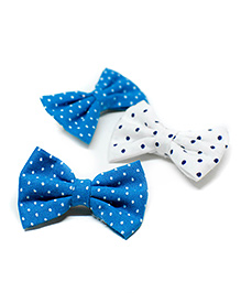 Pigtails And Ponys Cute Polka Dots Alligator Clips Pack Of 3 - Blue & White