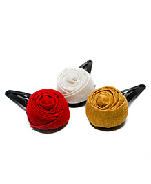 Pigtails And Ponys Rose Design Tic Tac Clips Pack Of 3 - Red Yellow & White