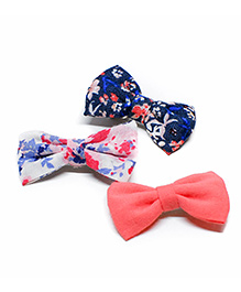 Pigtails And Ponys Smart Floral Print Alligator Clips Pack Of 3 - Peach White & Blue