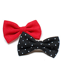 Pigtails And Ponys Cute Polka Dot Alligator Clips Pack Of 2 - Red & Black
