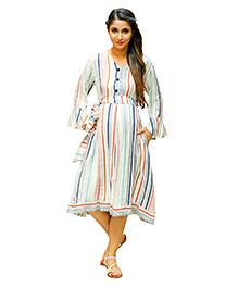 MOMZJOY Striped Linen Front Button Maternity & Nursing Dress - Striped Multicolor Print