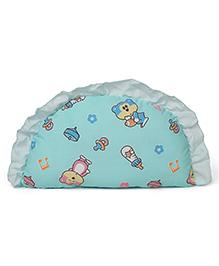Frilled Semi Circular Baby Pillow Teddy & Bottle Print - Sea Green